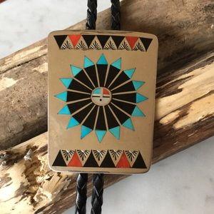 Vintage Native American Zuni Natachu Sunface Bola